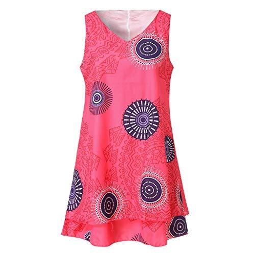 VJGOAL Damen Röcke, Damen Mädchen Plus Size Print Rundhalsausschnitt Kleid Lose Shift Sleeveless Tank Weste Sun Rock(Hot ()