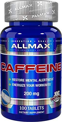 100% reines Koffein + leicht zu schneiden in halber Pille, 200 mg - ALLMAX Nutrition