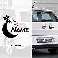 Fee * Fairy * Sternchen und Mond mit Name | Auto Aufkleber | Elfe Fee Elfen Feen | on Board | Wunschtext