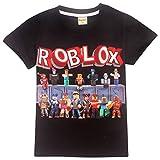 Playera Infantil Roblox para Juegos Familiares, Camiseta de Equipo de Juegos de algodón Transpirable para niñas, niños, Pijama Pjs Negro Black3 150 cm (9-10 Años)