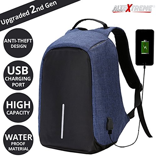 AllExtreme Anti Theft Backpack Waterproof Business Laptop Bag with USB Charging Port for 14 inch Laptop, Notebook, Camera and Mobile (Blue)