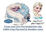 essbar Frozen Elsa Face Head & Shoulders ungeschliffen Zuckerguss Bild für geflochtenen Haar Kuchen