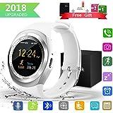 Bluetooth Smartwatch, Wasserdicht Smart Watch Rund mit SIM Kartenslot Whatsapp Touchscreen, Intelligente Armbanduhr Sport Fitness Tracker Armband fur Android iphone ios Samsung Sony Huawei Damen Herren (Weiß)