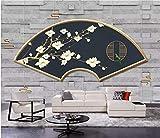 BHXINGMU 3D Wallpaper Benutzerdefinierte Fototapeten Minimalistisch Geometrische Fächer Magnolien Schlafzimmer Wandbilder Tapetenaufkleber 50Cm(H)×90Cm(W)