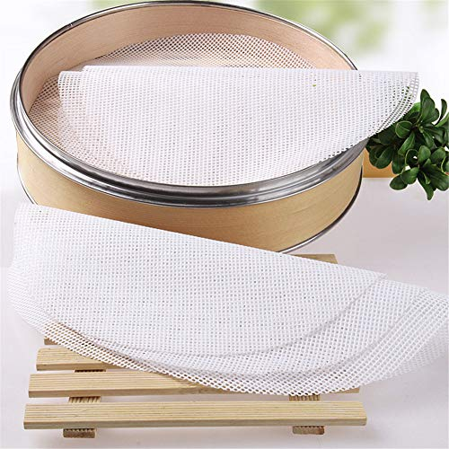 Mayyou Steamer Pad, Kitchen Silicone Steamer Mesh Non-Stick Pad Round Shape Dumplings Mat Steamed Buns Baking Pastry Dim Mesh -