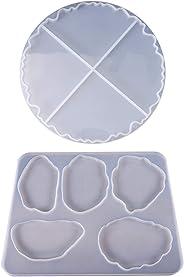 Fafellandi DIY Wave Coaster Crystal Epoxy Mold Manual Mirror UV Resin Rectangle Table Decor,silicone Molds for Resin