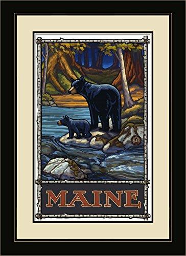 Northwest Art Mall pal-1276mfgdm bis Maine Bears in Stream Gerahmter Art Wand von Künstler Paul A. lanquist, 13von 40,6cm