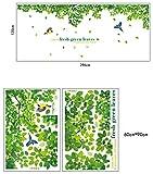 Kololy Wall Sticker Decalcomania Adesivi Murali,adesivi Freschi di Foglie Verdi Adesivi Decorativi Rimovibili Creativi
