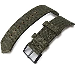 20mm MiLTAT WW2 Military Green Washed Canvas Watch Band, lockstitch pin-hole, PVD