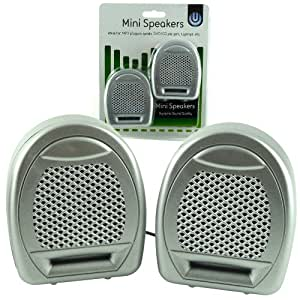 Mini Speakers - Ideal For CD/DVD Players, PC, Laptops, Ipods, IPhones - Portable & Great Even When Travelling - Silver