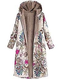 293d343de841 Berimaterry Damen Warm Pullover Fleecemantel Vintage Winterjacke Gefüttert  Plüschjacke Jacke Parka Wintermantel Outwear Warm Outwear Blumendruck