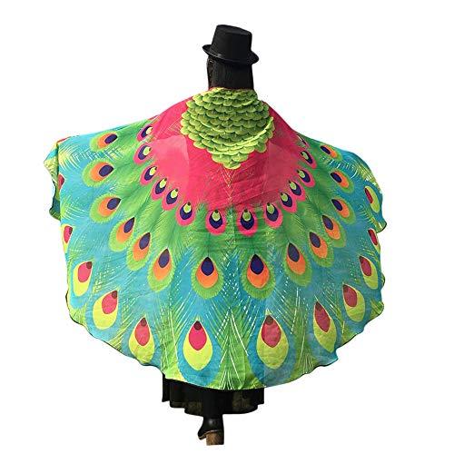 WOZOW Damen Schmetterling Kostüm Fasching Schals Karneval Fasching Nymphe Pixie Poncho Umhang für Party Cosplay (Heißes rosa grün)