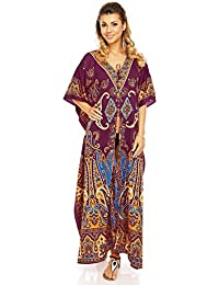 aacb47f4648 Looking Glam Ladies Full Length Oversized Maxi Kimono Tunic Kaftan Gown  Dress