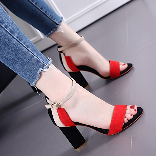 Fashion Gürtelschnalle Zauber Farbe Toe Ferse Sandale Frau High Heels gules