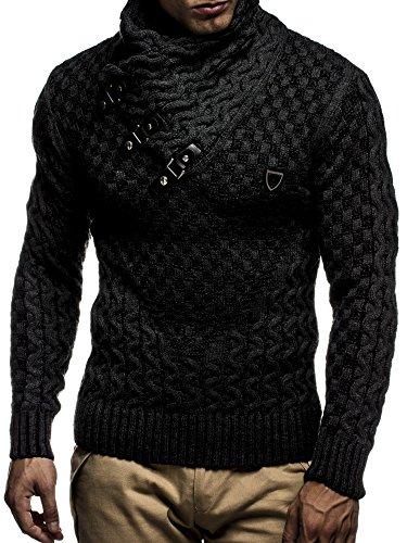 LEIF NELSON Herren Pullover Strickpullover Hoodie Sweatshirt Pulli Langarm Schalkragen LN5255; Größe M, Schwarz-Anthrazit