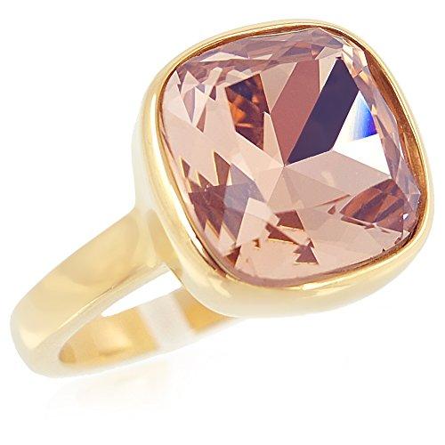 Ring Gr. 54 Edelstahl mit Kristall von Swarovski® Rosa Gold NOBEL SCHMUCK
