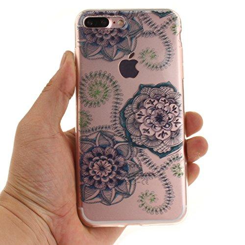 """Apple iPhone 7 Plus 5.5"""" hülle,MCHSHOP Ultra Slim Skin Gel TPU hülle weiche Silicone Silikon Schutzhülle Case für Apple iPhone 7 Plus 5.5"""" - 1 Kostenlose Stylus (Halbe weiße Blüten) Blaue grüne Traumblume"""