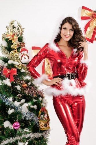 Womens/Miss Hoodie Sexy Party Fancy Santa Dress Xmas -