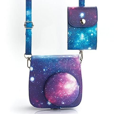 WOODMIN Galaxis Sternenklarer Himmel 2-in-1 Zubehör Bündeln Sets aus PU Leder für Fujifilm Instax Mini 8/8+ Kamera (Kameratasche Tasche Schutzhülle / Film und Foto Tasche)