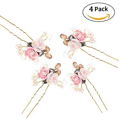 Preisvergleich Produktbild 4 x Charme Braut Haarnadeln Perlen Haarklammern Blumen Blüte Hochzeit Haarschmuck von Greencolourful