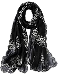 STORY OF SHANGHAI Femme Foulard 100% Soie Imprime Floral Coloré Grande  Echarpe Châle Ultra- fd7c8343c89