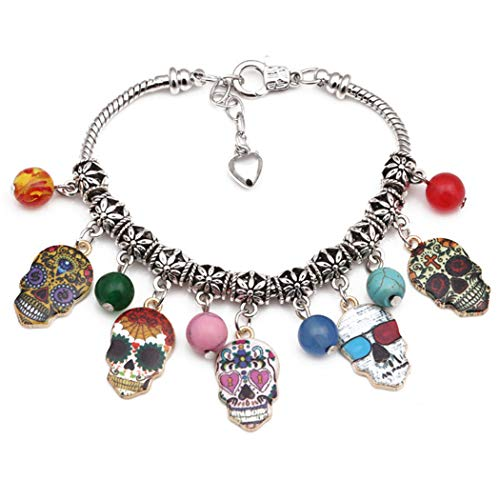 ZOYLINK Halloween Armband Skelett Kopf Bettelarmband Perlen Armband Party Prop