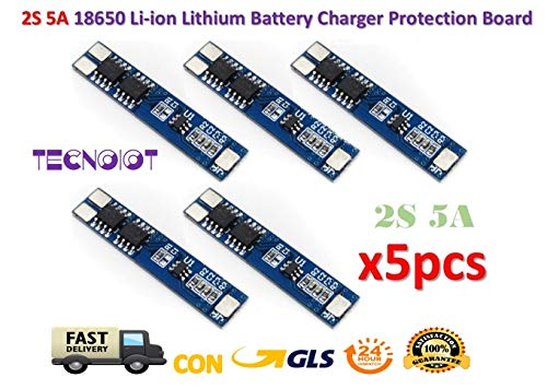 5 Stück 2S 5 A Li-ion Lithium Lipo 7,4 V 8,4 V 18650 BMS PCM Battery Protection Board, 5 Stück 2S 5 A Li-Ion Akku 7,4 V 8,4 V 18650 Ladegerät Batterie Schutz BMS pcm für Lithium-Akku Lipo Pack -