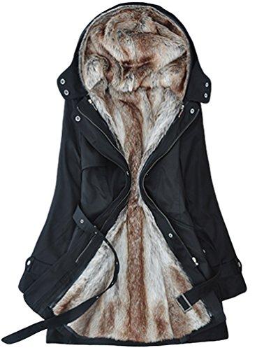 YOUJIA Chaqueta Abrigo Parka Anorak con Capucha de Invierno Térmico para Mujer (Negro, M)