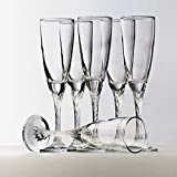 #4: Pasabahce Crystal Cut Beautiful Champagne Flute Glass Set of 6 Pcs | 205 Ml | With Gift Box