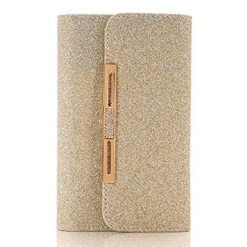 XGUO iPhone 7 Multifunktions Geldbörse Clutch Bling Kristall Schutzhülle Case Cover Mit 7 Kartenfächer Wallet Brieftasche abnehmbaren Magnet Handy Schutzhülle(iPhone 7,Schwarz) Gold