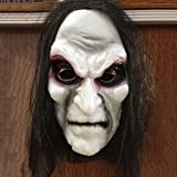 NAttnJf Scary Black Long Hair Blooding Ghost Máscara Cosplay Disfraces de Halloween Fiesta Prop