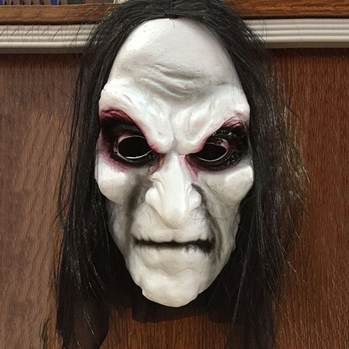 yimosecoxiang yimosecoxiang New Halloween Make Up Requisiten speziellen Festival bietet Scary Schwarz Lang Haar Blooding Ghost Maske Cosplay Halloween Kostüme Party Prop (Michael Myers Kid Clown Kostüm)