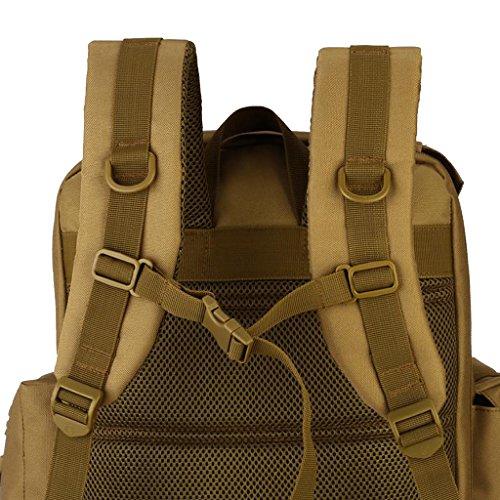 Gazechimp 40L Rucksack Erwachsene Taktischer Rucksack Trekkingrucksack Outdoor Wanderrucksäcke für Camping Wandern Reisen Braun