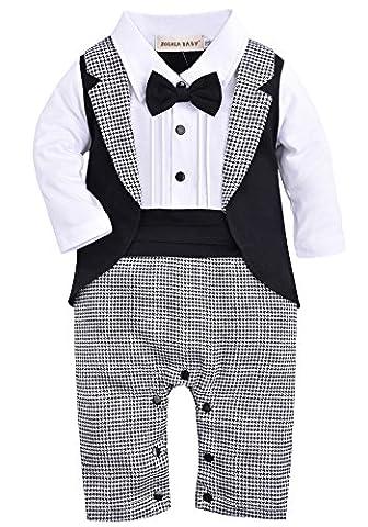 ZOEREA 1PC Baby-garçons barboteuse Manches longues chemise blanche de Combinaisons Veste noire Tuxedo avec Black Tie bowknot coton - Taille 90 (Noir)