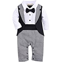 ZOEREA un-parti dei neonati pagliaccetto Tuxedo Outfit che coprono insieme con il Bowknot per nozze (3 Pezzi Bambino Outfit)