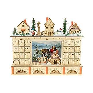 Clever Creations – Calendario de Adviento con 24 cajoncitos – Madera y Luces LED – Funciona con Pilas – Decoración Tradicional con Forma de Pueblo en Navidad – 02 – Pueblo sobre Puente
