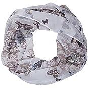 ManuMar Loop-Schal für Damen | Hals-Tuch mit Schmetterling-Motiv als perfektes Sommer-Accessoire | Schlauch-Schal
