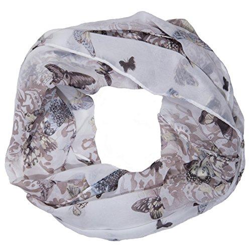 MANUMAR Loop-Schal für Damen | Hals-Tuch in Grau Beige mit Schmetterling Motiv als perfektes Frühling Sommer Accessoire | Schlauchschal | Damen-Schal | Rundschal | Geschenkidee für Frauen und Mädchen
