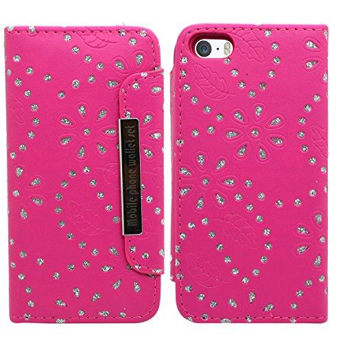 SAMRICK 2-in-1Bling Diamante Floral Blumen Executive Leder Buch Wallet Cover Schutzhülle mit Kredit/Visitenkarten-Halter für Apple iPhone 5/5S, Violett Pink