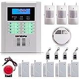 SUNLUXY® Kit Alarmas Inalámbricas Antirrobo Sirenas Detector de Humo Control Remoto con GSM + PSTN Sistema de seguridad para Hogar