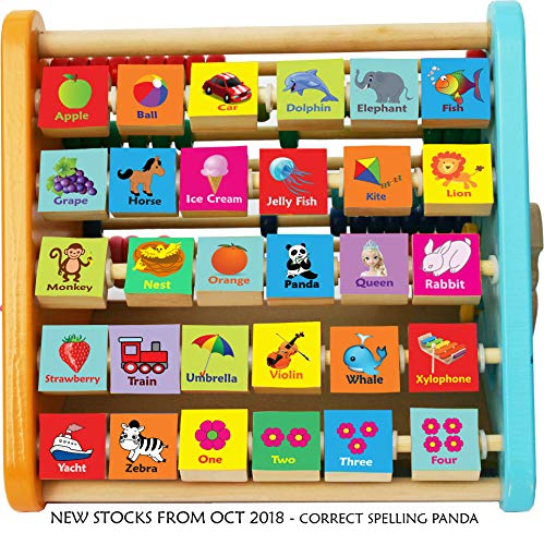 TOWO Wooden Activity Centre Triangle toys - Wooden Alphabet Blocks Abacus clock - Activity Cube for Toddlers-Wooden Activity Toys for Babies Montessori Learning-wooden toys for 1 year old
