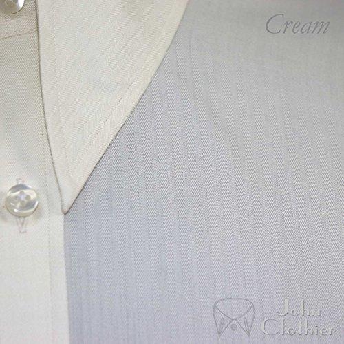 WhitePilotShirts -  Camicia classiche  - Uomo Cream Herringbone