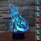 HeXie Weihnachtsgeschenk Magie Wolf Lampe 3D Illusion 7 Farben Touch-schalter USB Einsatz LED-Licht Geburtstagsgeschenk und Party Dekoration