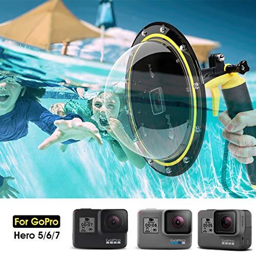 Telesin Puerto de Domo para GoPro Hero 7/6/5 Black/2018, Alojamiento Impermeable Buceo Cubierta de...