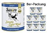 Sanoro Menü Sensitiv Rind - Hundefutter in Lebensmittelqualität - Rind mit Bio-Reis und Bio-Karotten - Purin- und Proteinreduziert. 8 Dosen mit je 800 g Inhalt - kann als Diätfutter bei Leishmaniose und Nierenproblemen eingesetzt werden - singleprotein