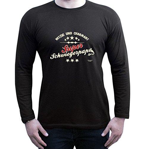 Vater, Vatertag, Vatertagsgeschenk T-Shirt Funshirt Super Schwiegerpapa Geschenkidee, Geschenkset langarm Outfit, Shirt Farbe: schwarz Schwarz
