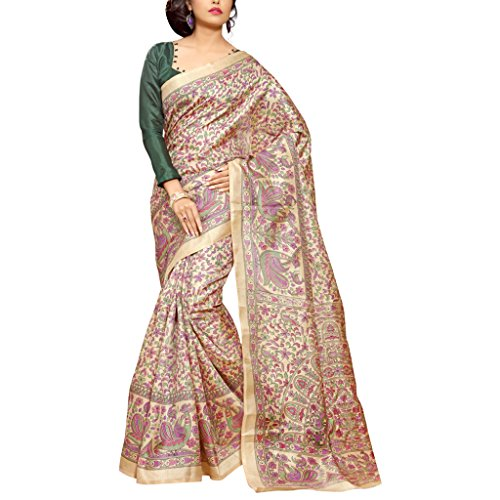 Applecreation Khadi Silk Saree (Mdb8402-A_Beige & Pink)  available at amazon for Rs.569
