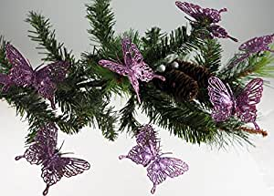 Set Of 8 Glitter Purple Lilac Clip On Butterfly Christmas