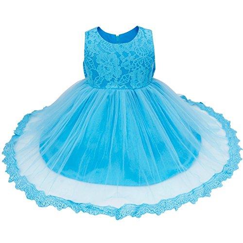 FEESHOW Baby Mädchen Kleid Deluxe Spitze Blumenmädchenkleid Ärmellos Babykleid mit einer großen Schleife am Rücken Rundhals Kleid Hochzeit Geburtstag Blau (Blau Maskerade Kleider)