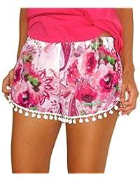d25c51f28fa418 Bovake Frauen Sport Hose Yoga Leggings/Damen kleine Bälle Quaste Rand  Floral Print Beach Shorts//Athletische Gymnastik Workout Fitness…